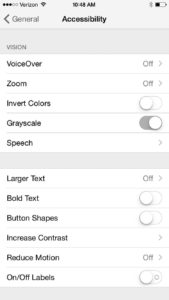 iPhone Accessibility Settings: Grayscale