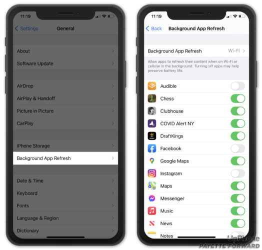 check background app refresh on iphone