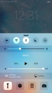 iPhone Flashlight On Control Center