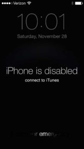 Can check the iphone is disabled connect to itunes inside