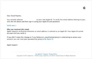 Apple ID Verification Email