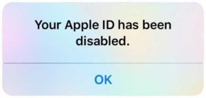 Your Apple ID has been disabled iPhone