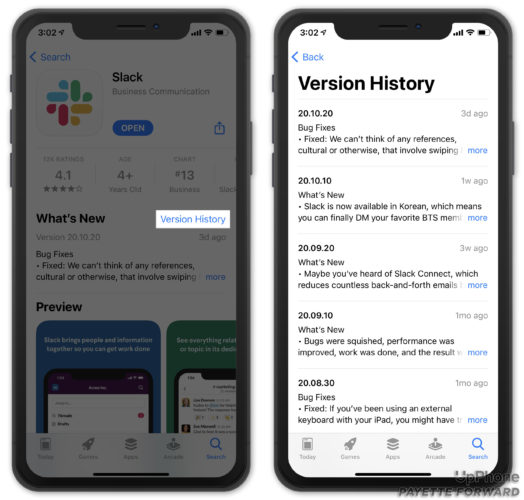 check version history for iphone app