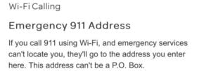 emergency 911 address