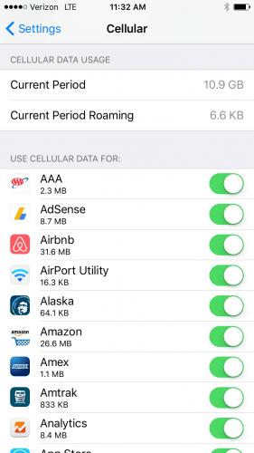 settings -> cellular