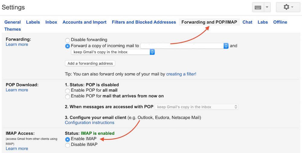 Gmail Settings Enable IMAP Desktop