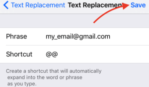 Text Replacement Save