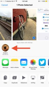 AirDropping a photo in iOS.