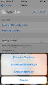 Share iPhone location via Messenger