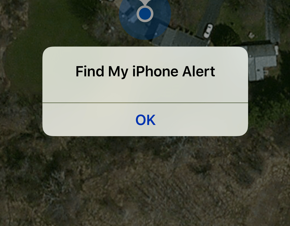 Find My iPhone Alert Screen Message