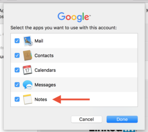 Syncing Notes with a non-iCloud email account on a Mac.