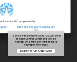 Searching for an older Mac with AirDrop.