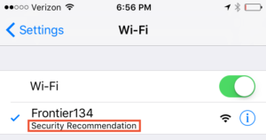 iOS security recommendation warning.