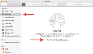 Turning on AirDrop on your Mac.
