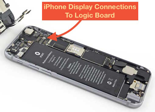iPhone display connections to logic board