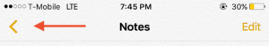 Viewing Notes folders in iOS.