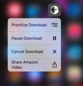 3D Touch Loading App Options