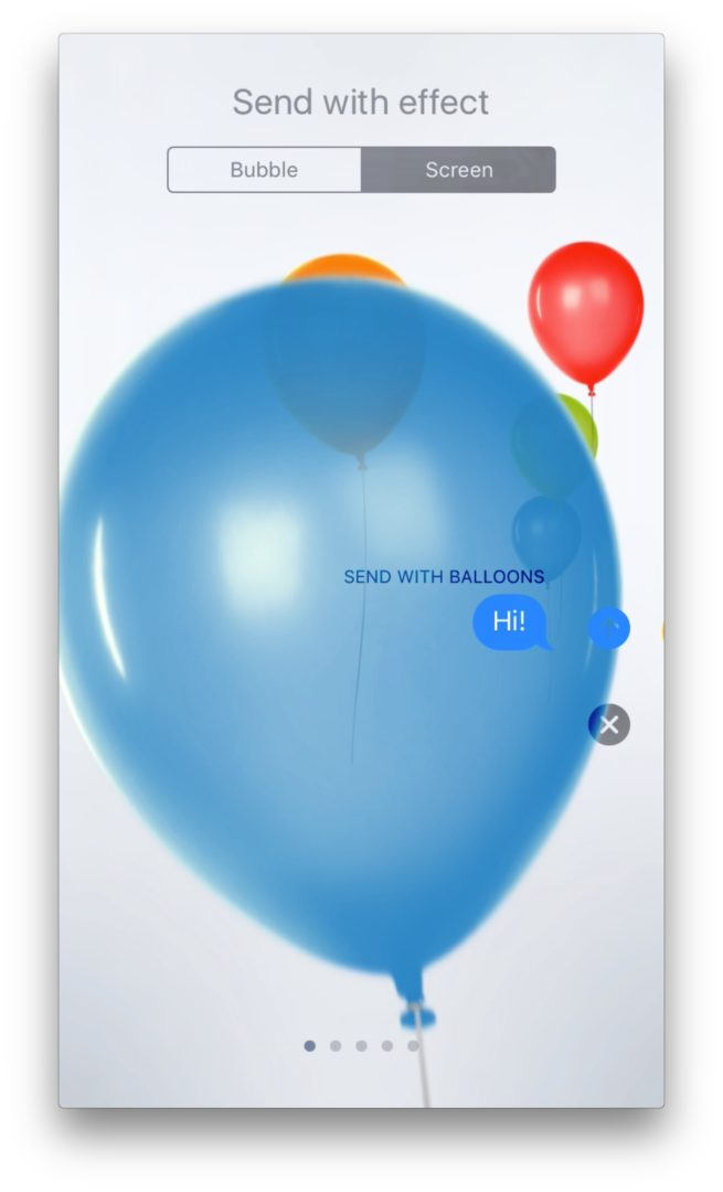 Balloons in Messages App on iPhone