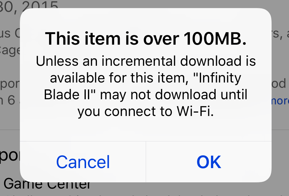 Item Over 100MB