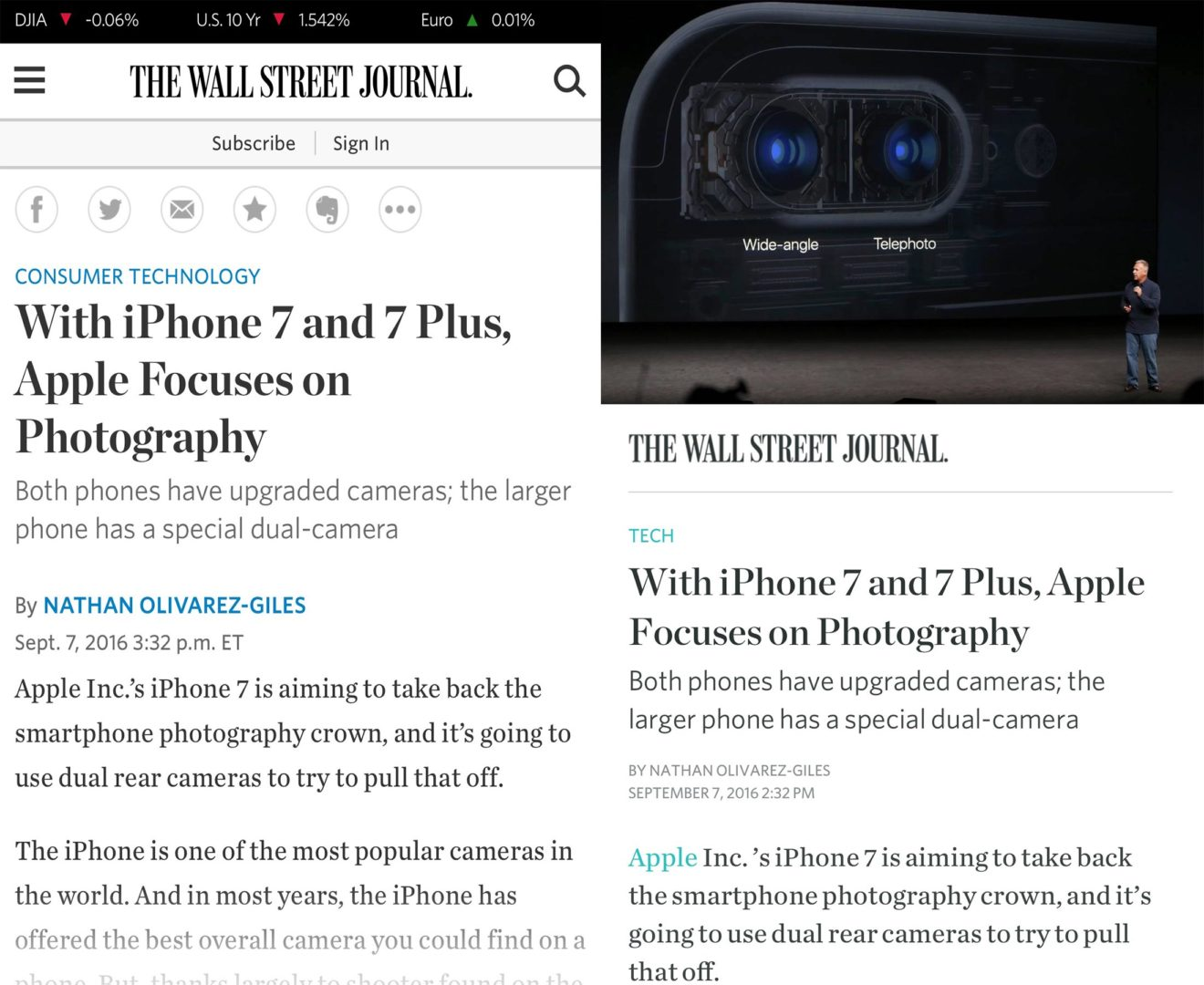 Comparing AMP to traditional mobile web with The Wall Street Journal.