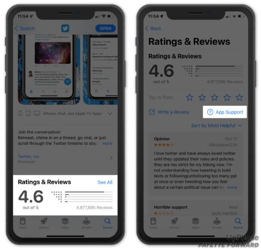 get app support in iphone app store