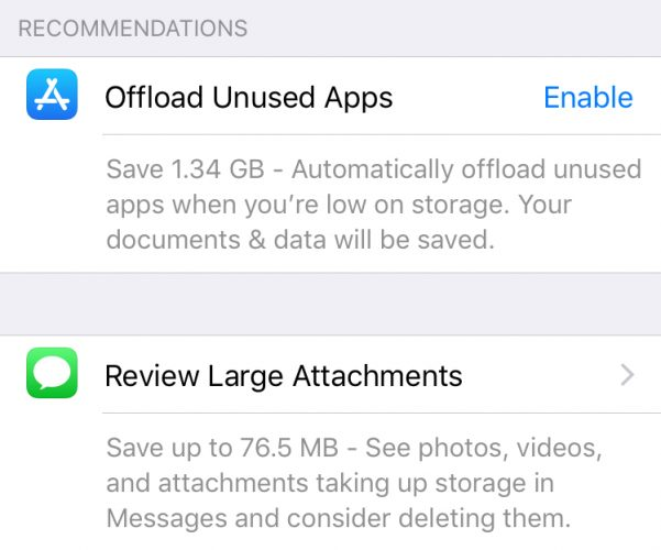 iphone storage recommendations