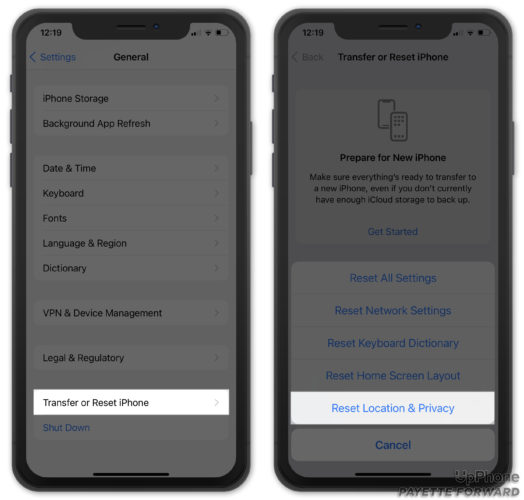 reset location and privacy settings on iphone
