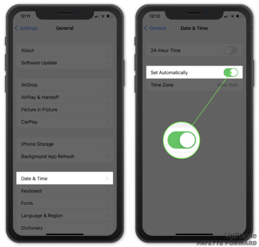 set iphone date and time settings automatically
