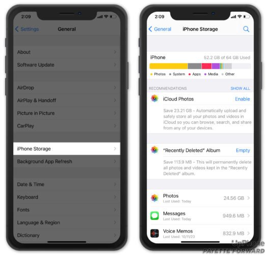 view storage space on iphone