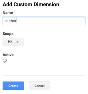 Add Custom Author Dimension Google Analytics