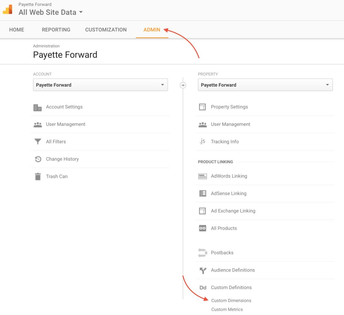 Admin Section Google Analytics For AMP Custom Dimensions