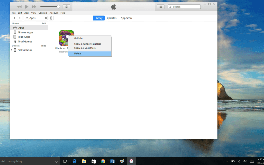 Delete apps using iTunes