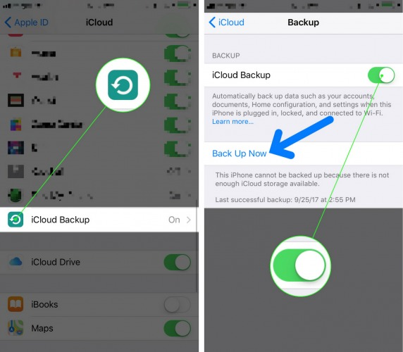 how to backup iPhone to icloud iOS 11