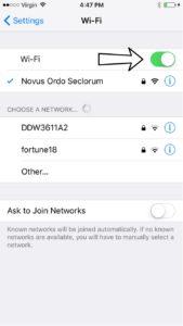Tap the switch next to Wi-Fi