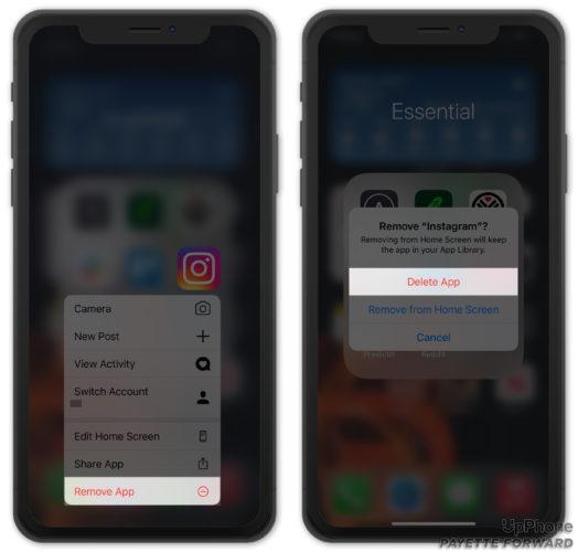 delete instagram on iphone