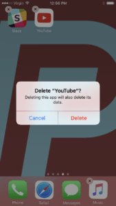 delete the youtube app on your iphone