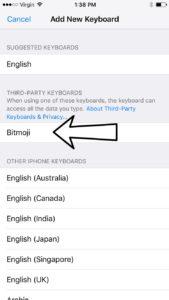 add new keyboard tap bitmoji