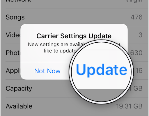 tap update to update carrier settings