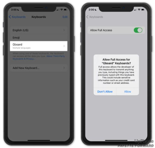 allow full access for gboard
