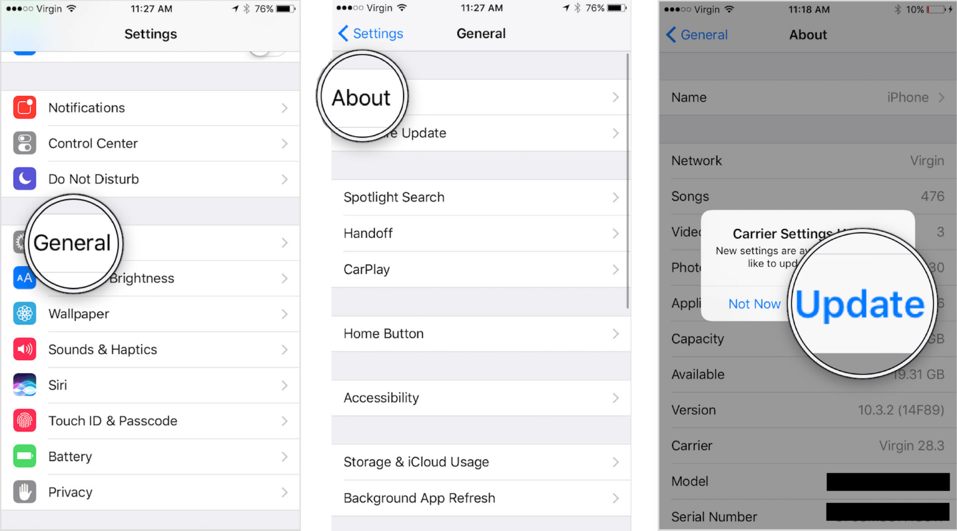 check for carrier settings update on iphone