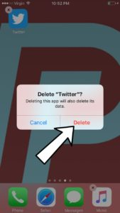 delete the twitter app on your iphone or ipad