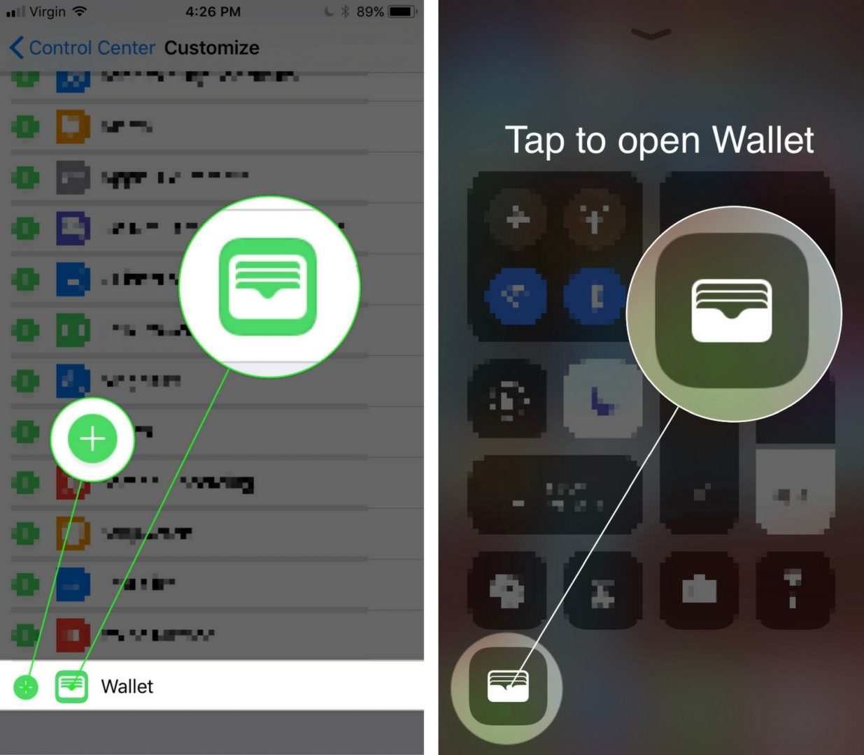 how to add wallet to control center on iphone