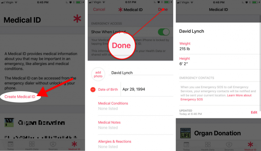 how to create medical id on an iphone