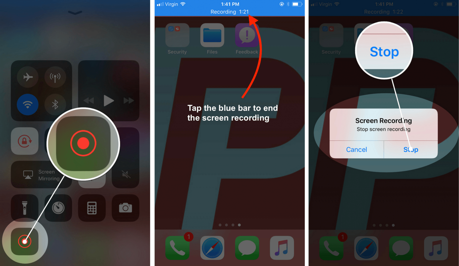 how to start and stop screen recording