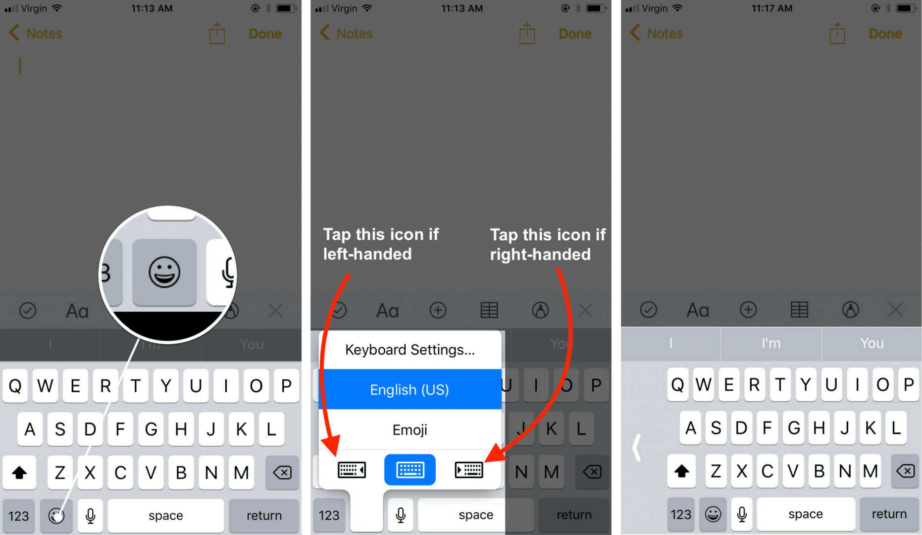 how to turn on one handed keyboard on an iphone