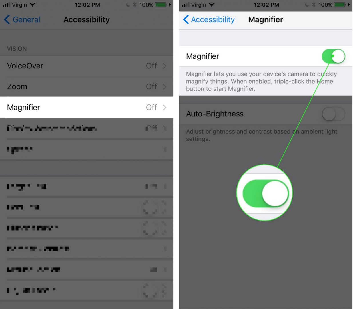 turn on magnifier in settings app