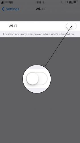 turn off wifi in the settings app on iphone