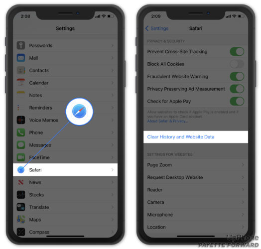 clear history and website data on iphone