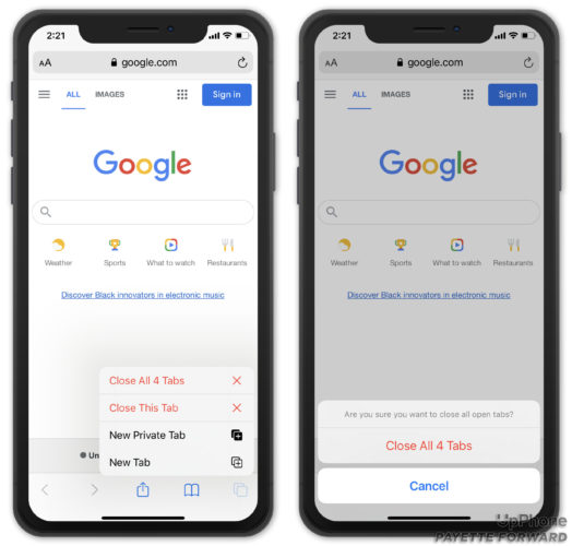 close all tabs on iphone