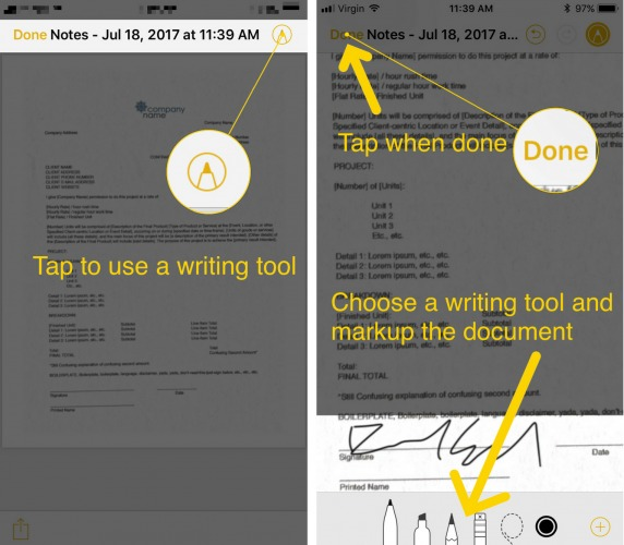 how to write on scanned iphone document